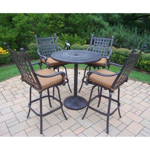 oakland living belmont 5 bar height patio dining set