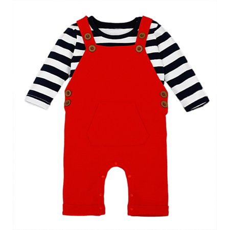 Milk Man Uniform (StylesILove Baby Boy Chic Shirt and Lined Overalls 2-pc Clothing Set (6-12 Months, Striped Top)