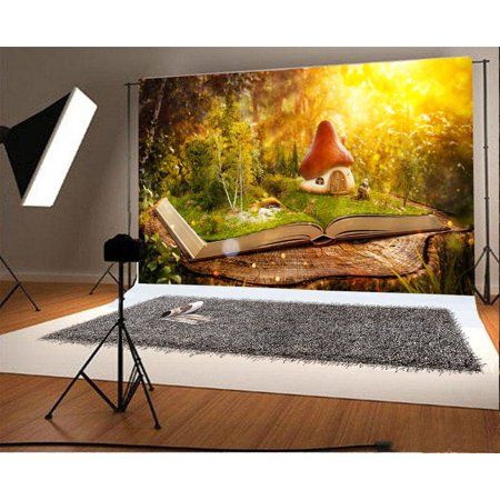 MOHome Polyster 7x5ft Photography Backdrop Magical mushroom house Fantasy Fairy Tale Sunline Book Photo Background Children Baby Adults Portraits Backdrop ()