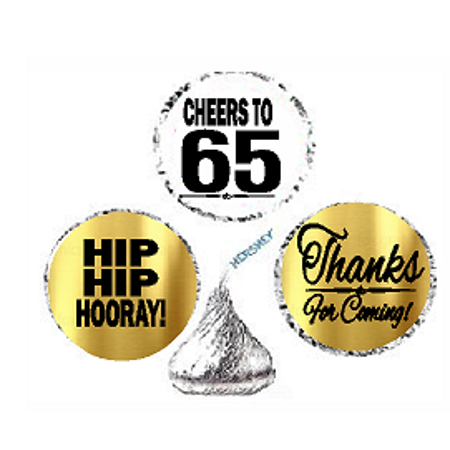 65th Birthday / Anniversary Cheers Hooray Thanks For Coming 324pk Stickers / Labels for Chocolate Drop Hersheys Kisses, Party Favors Decorations