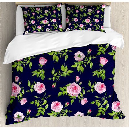 - Navy and Blush Queen Size Duvet Cover Set, Vintage Roses and Buds Romantic Feminine Floral Pattern Old Fashioned, Decorative 3 Piece Bedding Set with 2 Pillow Shams, Indigo Green Pink, by Ambesonne