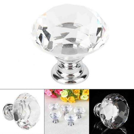 WALFRONT 8/10/16/20PCS Beauty Crystal Glass Door Drawer,30mm/40mm Pink/Clear Beauty Crystal Glass Door Drawer Cabinet Wardrobe Pull Handle Knobs Clear Beauty Crystal Glass Door Drawer