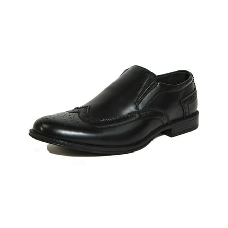 Perforated Wing Tip - Alpine Swiss Basel Men's Wing Tip Dress Shoes Brogue Medallion Slip On Loafers