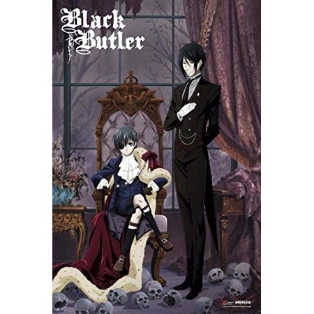 Black Butler Sebastian and Ciel with Skulls 36x24 Anime Art Print Poster Japanese Animated Series Show - Japan Mini Poster