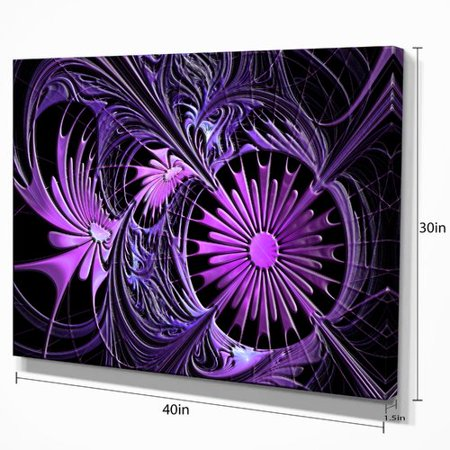 - Design Art Embossed Purple Floral Shapes Large Floral Graphic Art on Wrapped Canvas