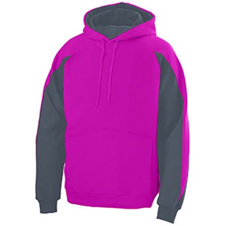 - Augusta Youth Cotton/Poly Athletic Fleece Hoody with Contrast Inserts - POW PINK/ GRAPH - L 5461