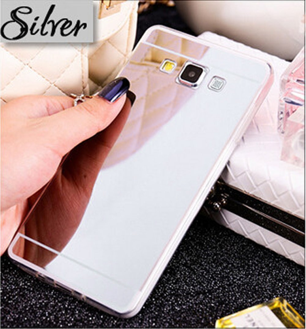 Galaxy Luna Case, Galaxy Express 3 Case, Galaxy Amp 2, J1 Case Luxury Mirror Back Shock-Absorption TPU Bumper Anti-Scratch Bright Reflection Protective Case Cover for Galaxy Luna/Express 3, Silver