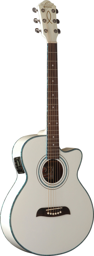 Oscar Schmidt Acoustic Electric Guitar, Spruce Top, WT92 Preamp, White, OG10CEWH by Oscar Schmidt