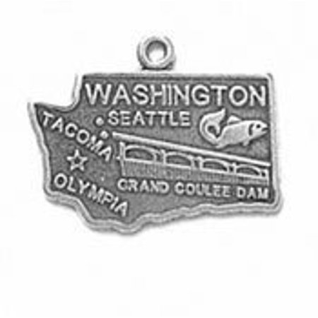Sterling Silver Washington State Charm with Split Ring