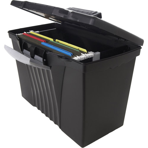 Storex Portable File Box with Organizer Lid, Legal/Letter, Black