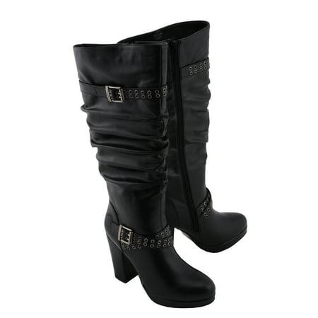 Milwaukee Leather Milwaukee Leather MBL9419 Women Black Platform Boot with Slouch Shaft Black 6 Shaft Platform Boot