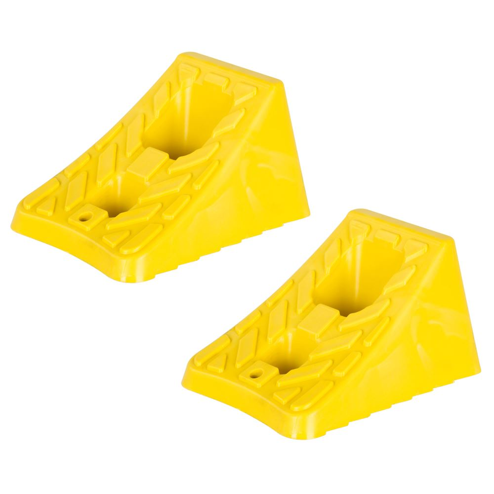 Pair of Hard Plastic Light Truck or Trailer Wheel Chock Blocks