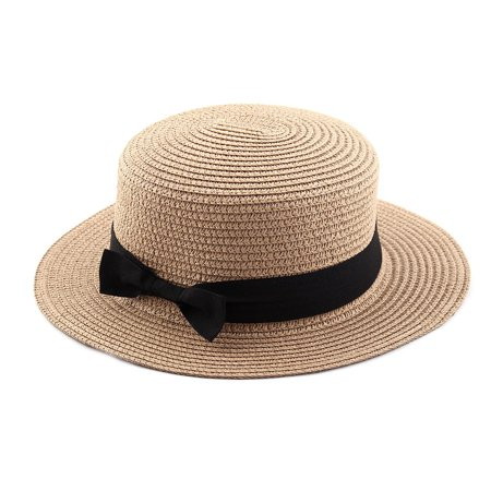 Woman Ribbon Decor Wide Brim Braided Summer Beach Straw Cap Sun Hat Khaki