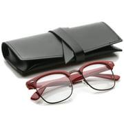 zeroUV - Retro Square Clear Lens Horn Rimmed Half-Frame Eyeglasses 50mm - 50mm