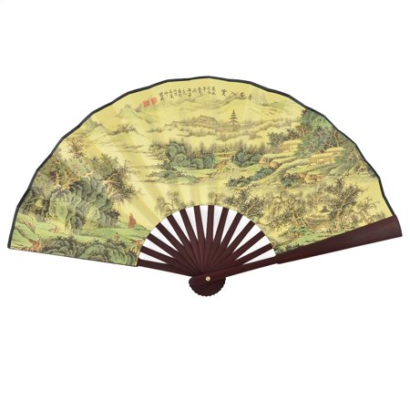 Summer Bamboo - Summer Chinese Vintage Style Bamboo Handle Paint Poem Pattern Foldable Hand Fan