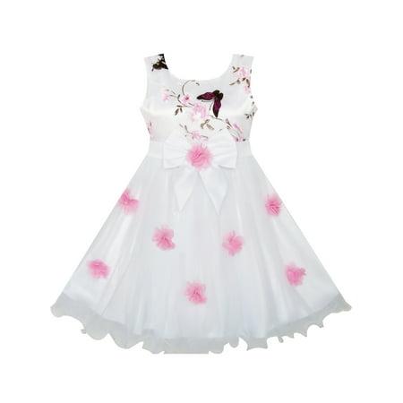Flower Girls Dress Butterfly Wedding Pageant Bridesmaid 4 (Girls Butterfly Dress)