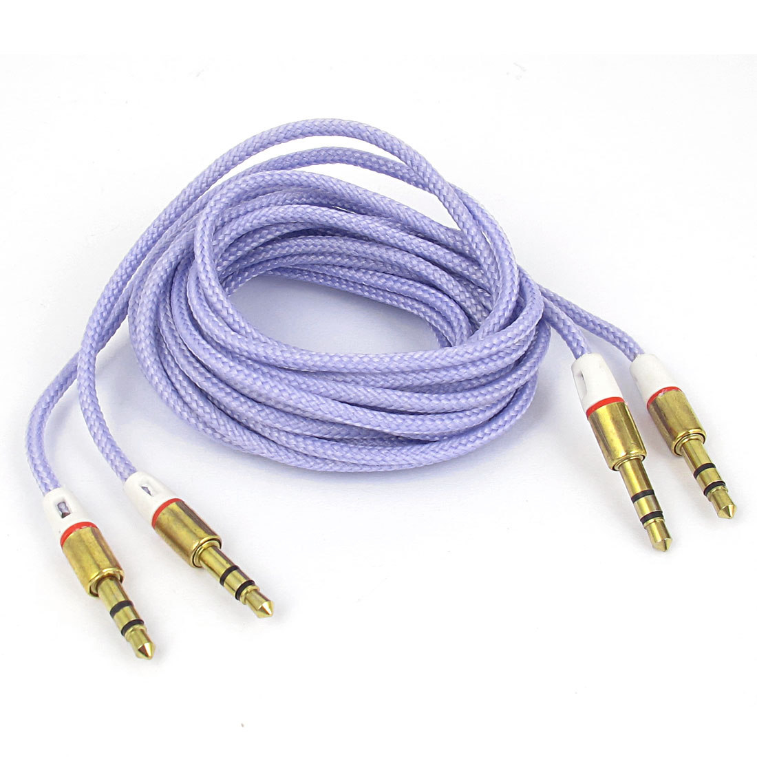 2 Pcs 3.5mm Male to Male Nylon Cover Jacketed Audio Stereo Cable 5Ft Purple