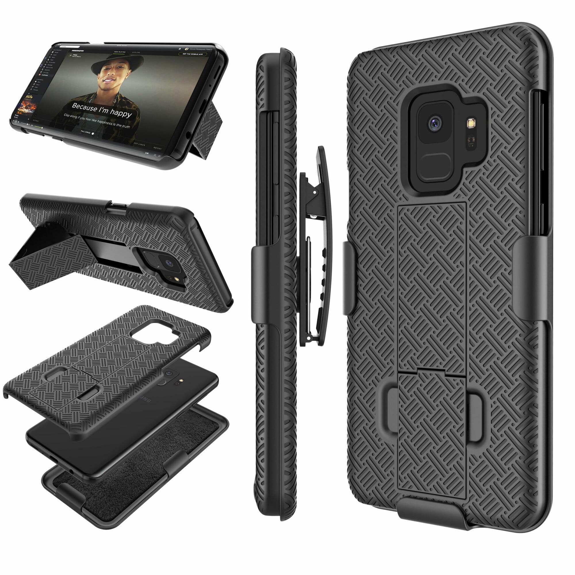 Galaxy S9 Case, Samsung S9 Hard Case, Njjex Hard Shell [Built-in Kickstand] Holster Locking Belt Swivel Clip Defender Secure Slim Case Cover For Samsung Galaxy S9 (2018) -Black