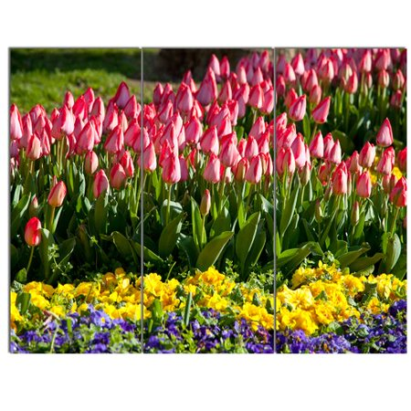 3 Arm Tulip - Design Art 'Tulip Garden with Yellow Flowers' 3 Piece Photographic Print on Wrapped Canvas Set