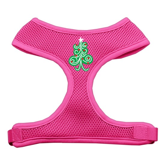 Swirly Christmas Tree Screen Print Soft Mesh Harness Pink Large