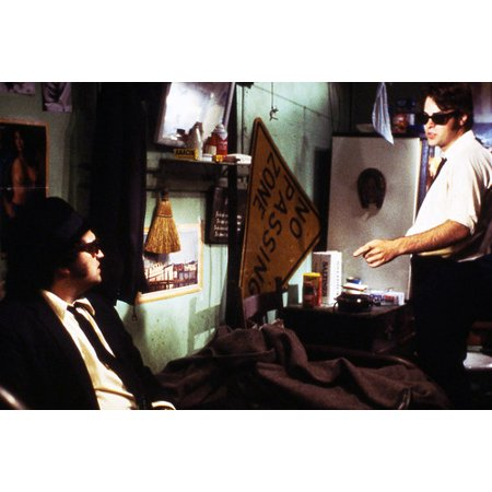 Dan Aykroyd and John Belushi in The Blues Brothers seated on bed in apartment 24x36 - Slat Poster Bed