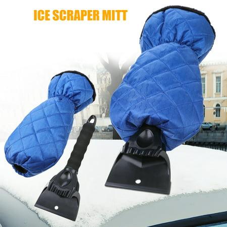 Universal Ice Scraper Mitt Glove Windshield Snow Scraper Waterproof Snow Remover with Lined of Thick Fleece Keep Warm Black/Blue