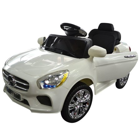 6v kids ride on car rc remote control battery powered w led lights mp3 white. Black Bedroom Furniture Sets. Home Design Ideas