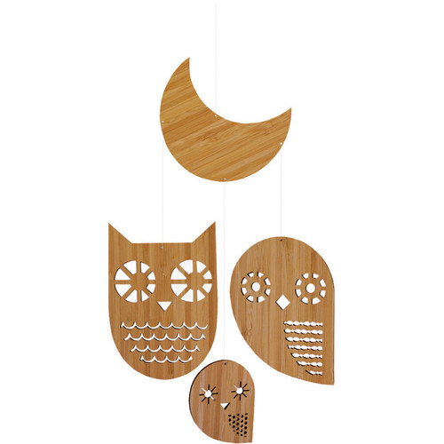 Petit Collage Owl Family Bamboo Mobile