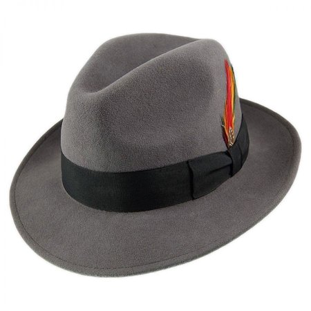Pinch Crown Crushable Wool Felt Fedora Hat - XXL - Gray](Grad Hat)