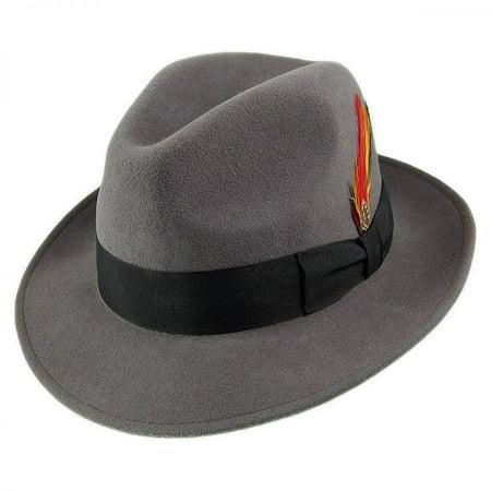 Pinch Crown Crushable Wool Felt Fedora Hat - XXL - Gray