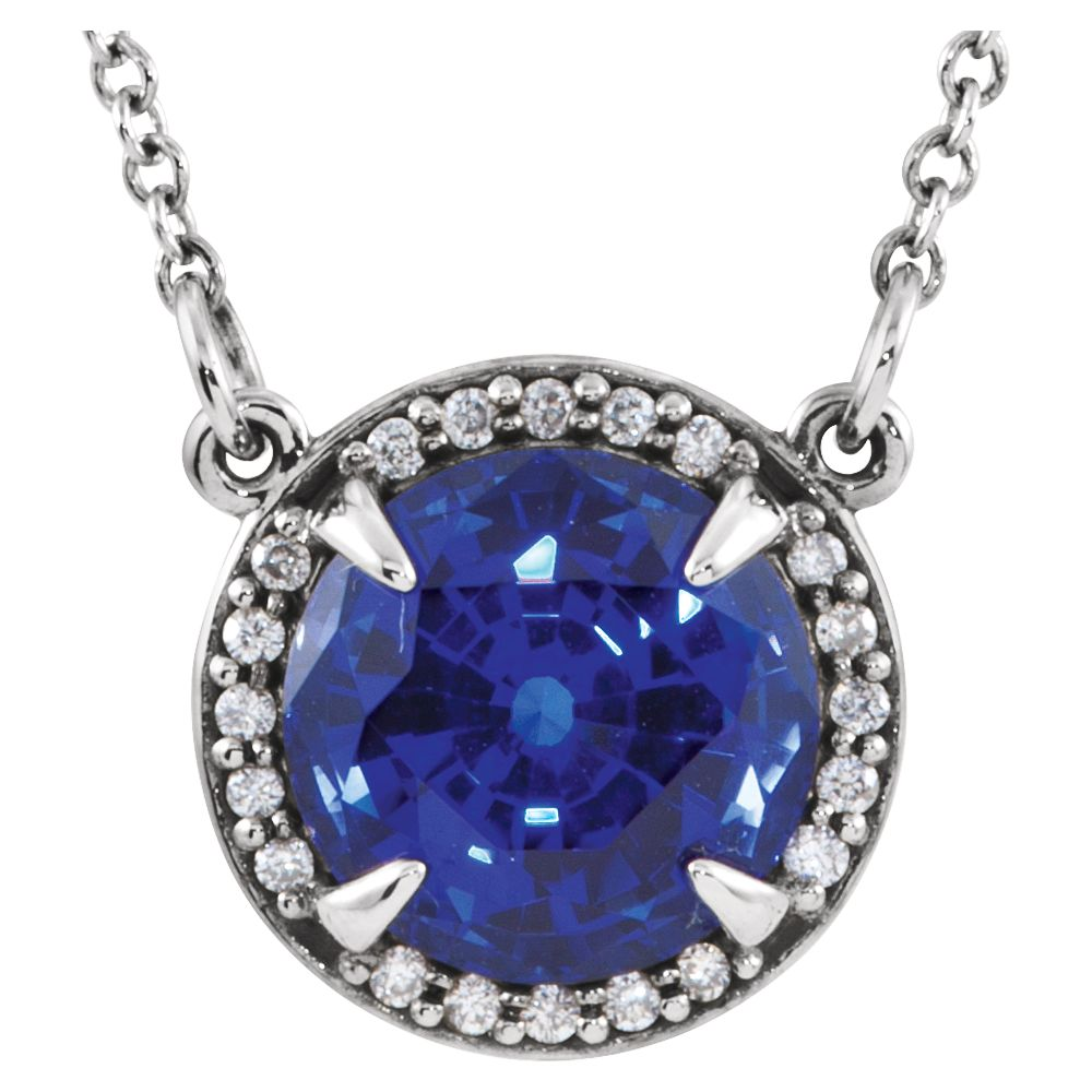 "Platinum Gem Quality Chatham Blue Sapphire and Diamond Halo Pendant 16"" Necklace by"