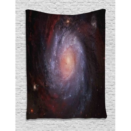Galaxy Tapestry, Spiral Nebula Print Outer Space Theme Far Stardust Starry Night Picture Print, Wall Hanging for Bedroom Living Room Dorm Decor, 40W X 60L Inches, Black Red Grey, by Ambesonne - Outer Space Themes