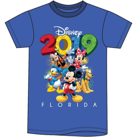 Disney For Adults (Disney Adult Unisex 2019 Dated Fun Friends Mickey Goofy Donald Pluto Minnie (FL Namedrop) Medium Royal Blue)