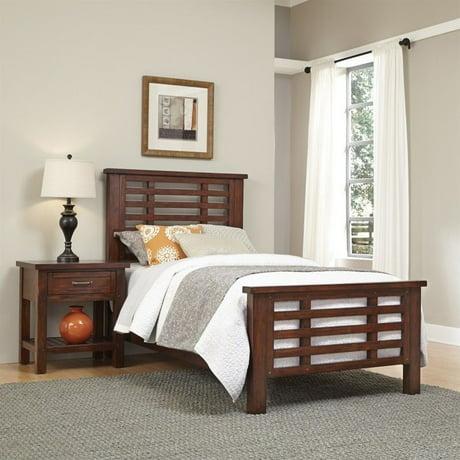 home styles cabin creek 2 piece wood twin bedroom set in chestnut. Black Bedroom Furniture Sets. Home Design Ideas