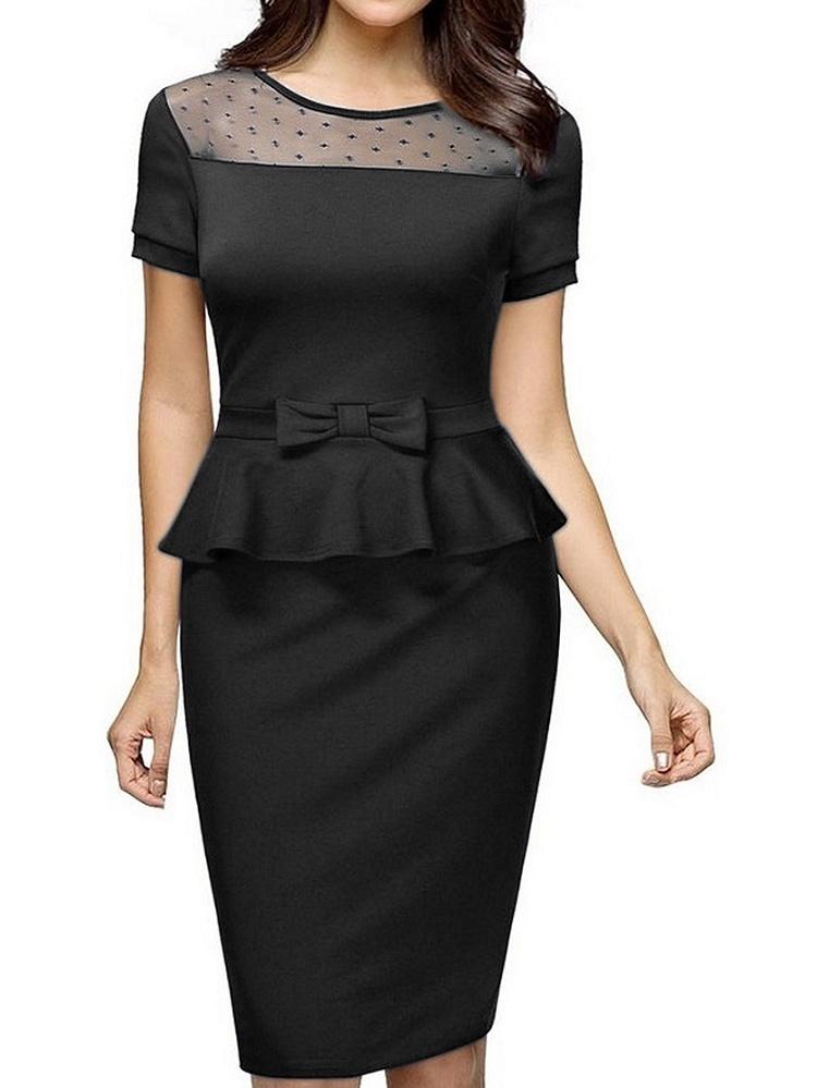 Women Vintage Elegant Short Sleeve Peplum Suit Wear to Work Business Pencil...