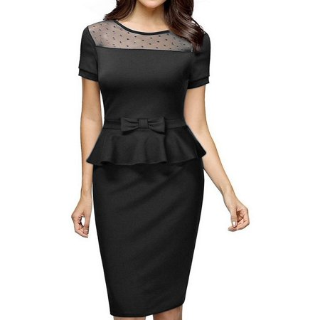 Party Wear Dresses (Women Vintage Elegant Short Sleeve Peplum Suit Wear to Work Business Pencil Dresses Midi Cocktail Party Dress Color:Black)