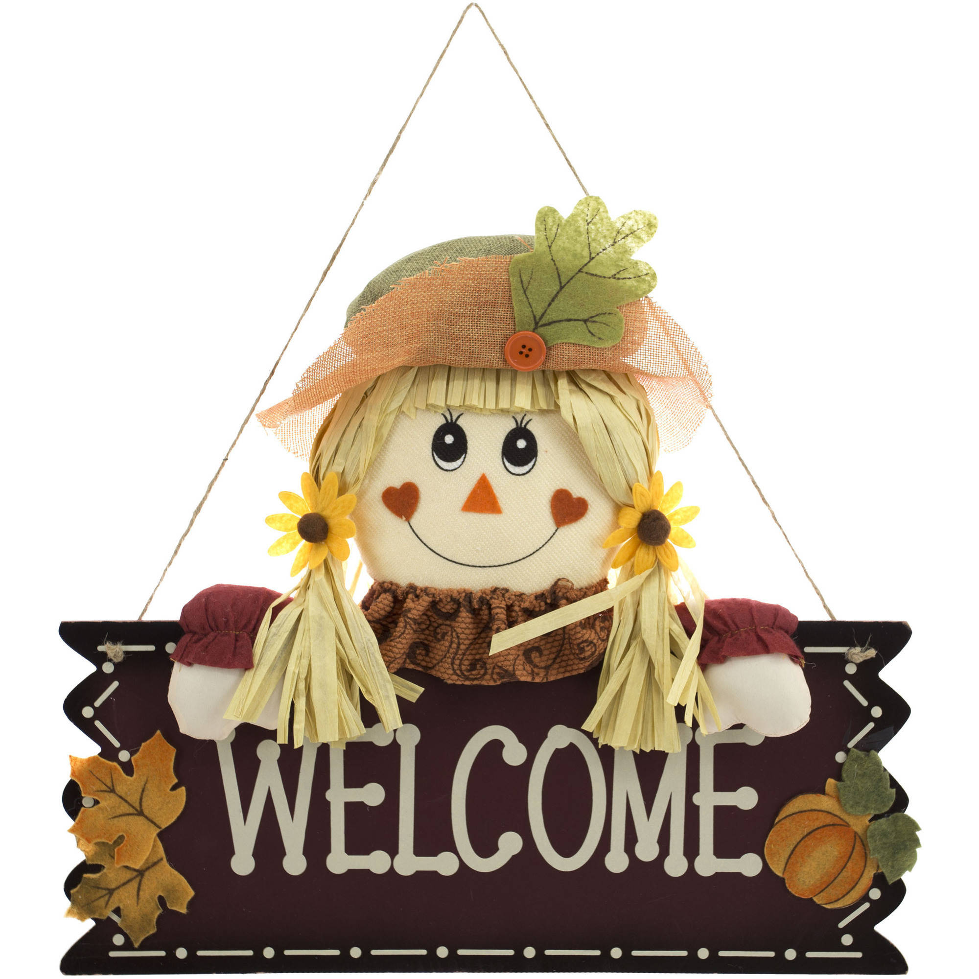 "Harvest 18"" Scarecrow Girl ""Welcome"" Wall Hang Decor Harvest Fall Decoration"