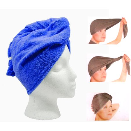 Turbo Twist Microfiber Hair Towel - Super Absorbent Hair Towel - 2pc Set Blue