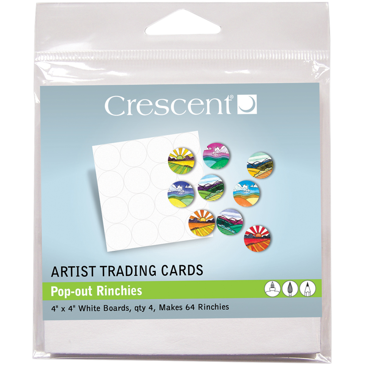"Crescent Artist Trading Cards 4""X4"" 4/Pkg-Pop-Out Rinchies"