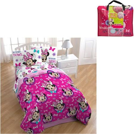 Disney Minnie Mouse 4 Piece Bedding Set Walmart Com