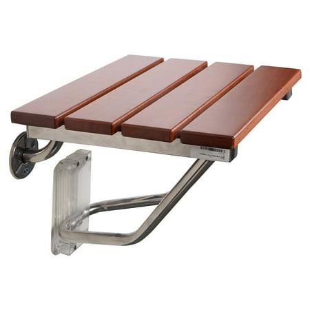 Goplus Folding Wall Mount Solid Wood Construction Bath Seat Bench Shower Chair Folding Shower Seat