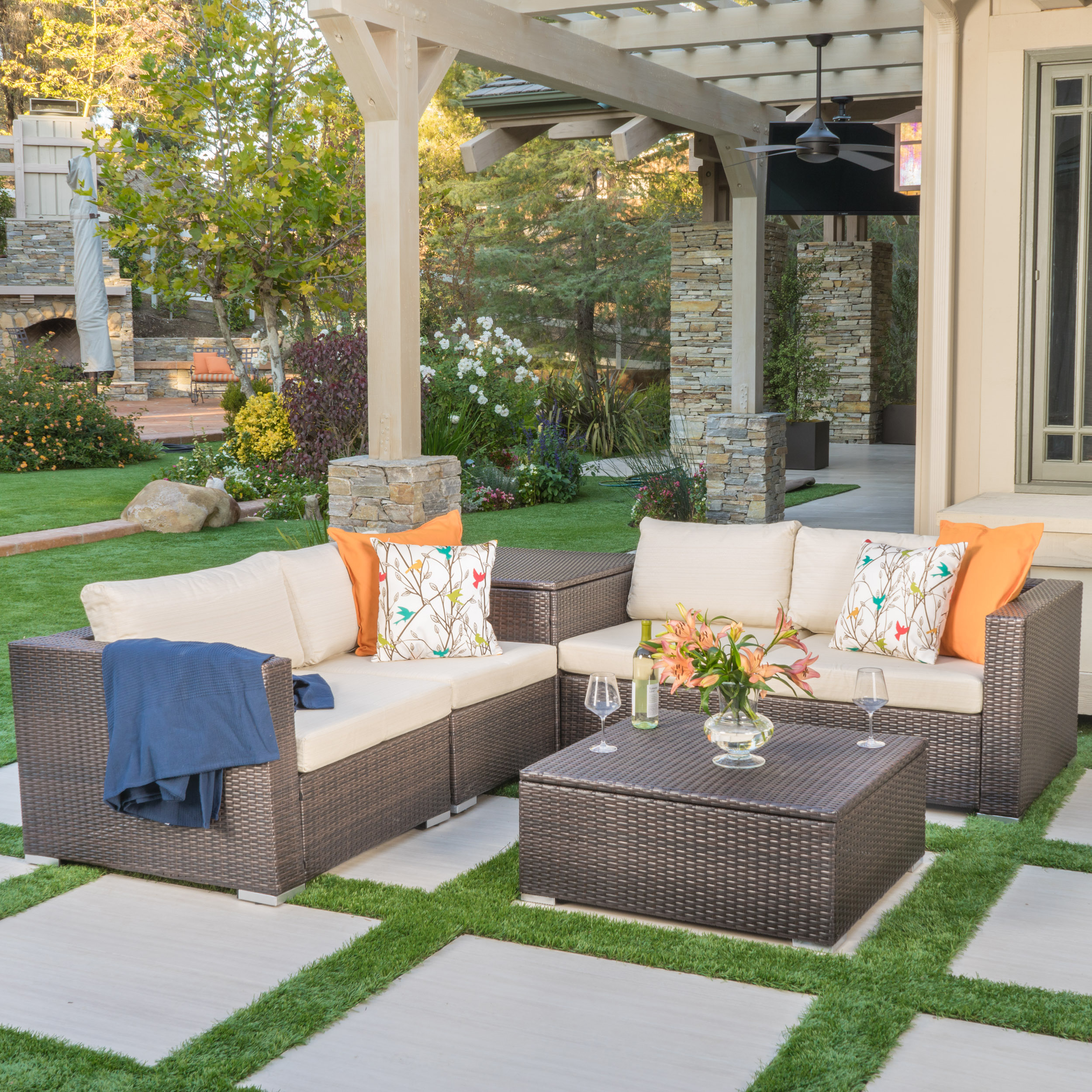 Delicieux Faviola Outdoor 4 Seater Wicker Sectional With Aluminum Frame And Cushions  And With Storage Unit And Coffee Table Storage, Multibrown, Beige