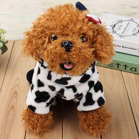 Pet Dog Cat Warm Cow Jumpsuit Clothes