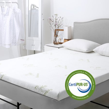 LANGRIA 3-Inch Gel-infused Memory Foam Mattress Topper with Removable Zippered Hypoallergenic Bamboo Cover CertiPUR-US Certified Gel Memory Foam - Trooper Zipper