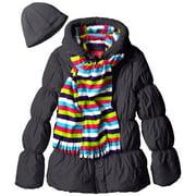 Pink Platinum Little Girls' Solid with Stripes Puffer Jacket Hat Scarf Set