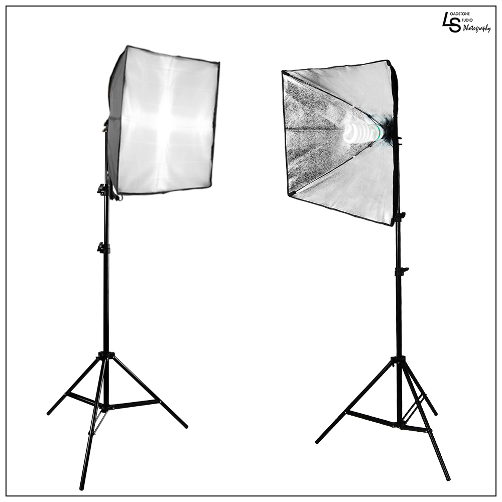 2x Softbox Light Set with 2x 6500K Daylight Balanced 85W Bulbs, 2x Light Stands for Photography Video Lighting by Loadstone Studio WMLS0260