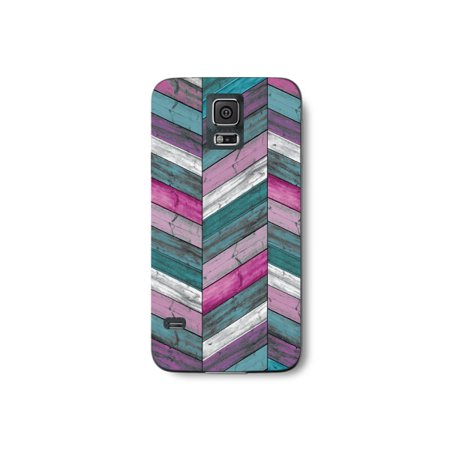 - Wood Pattern Print Chevron Turqouise Pink White Purple Color Stripes Design Phone Case for the Samsung Galaxy S7 Edge