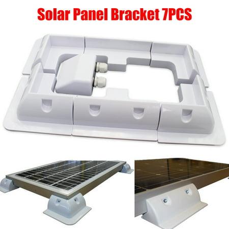 White 7pcs Solar Photovoltaic ABS Plastic Bracket Solar Panel Corner Cable Mounting Bracket Kit Caravan Boat RV Vehicle Roof (Solar Panel Roof Mounting)