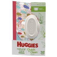 Huggies Natural Care Sensitive Baby Wipes, Unscented, 1 Clutch 'N' Clean Reusable Travel Pouch (32 Wipes Total)
