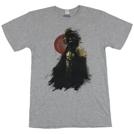 Star Wars Mens T-Shirt - Brushstroke Darth Vader in Front of Red Sun Image